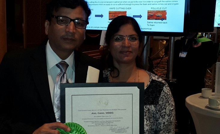 Dr. Anil Garge & Seema Garge With ISHRS Certificate