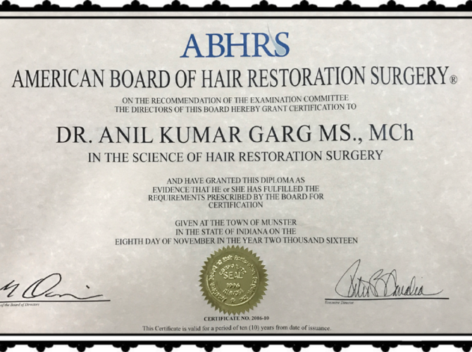 Dr. Anil Garg ABHTS certificate