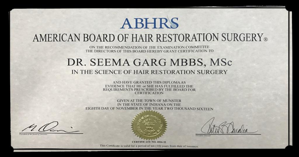 Dr. Seema Garg ABHRS Certificate