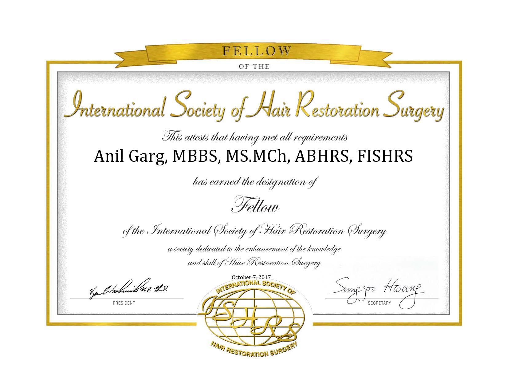 Dr. Anil Garg, ISHRS